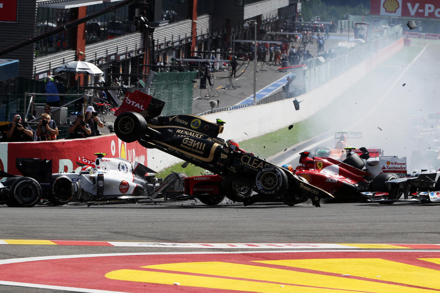 Romain Grosjean, Fernando Alonso and Lewis Hamilton are taken out in a spectacular first corner crash
