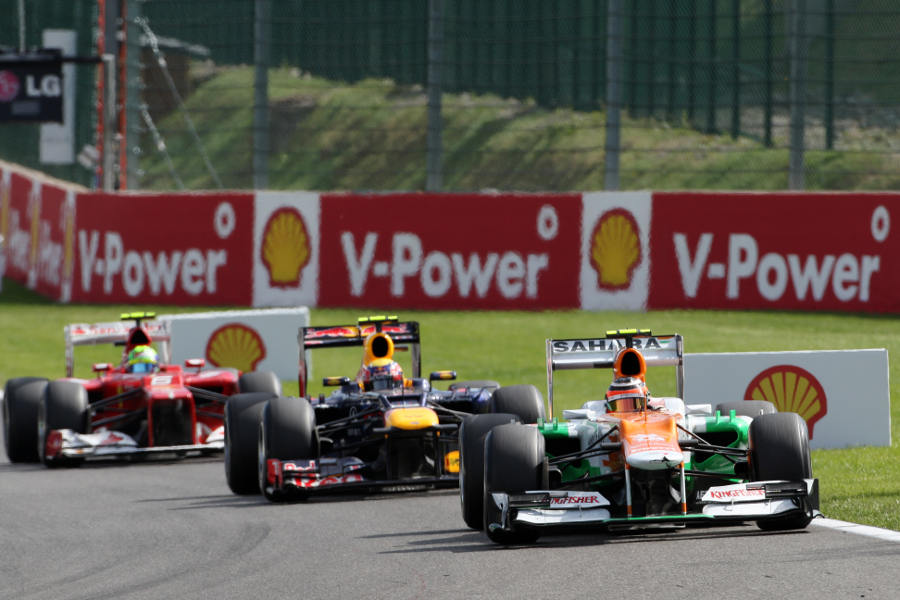 Nico Hulkenberg leads Mark Webber and Felipe Massa
