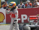 Lewis Hamilton gesticulates at Romain Grosjean after the dramatic first-corner crash