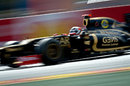 Kimi Raikkonen at speed in the Lotus