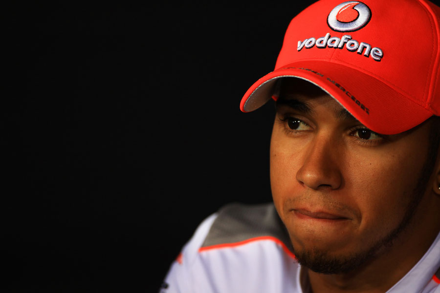 Lewis Hamilton during the driver press conference on Thursday