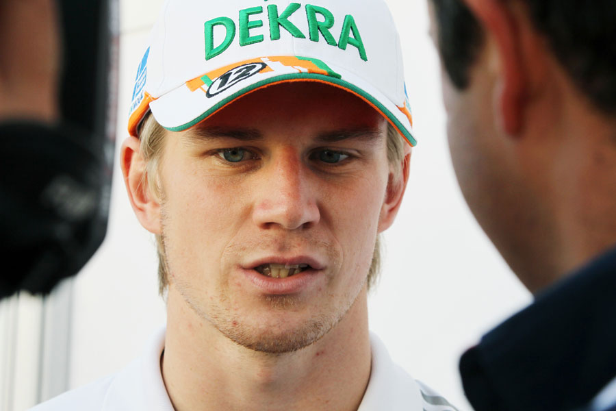 Nico Hulkenberg faces the press on Thursday