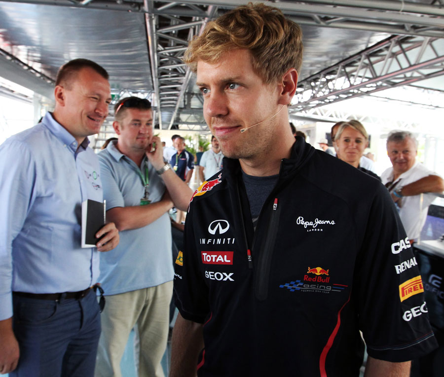 Sebastian Vettel in the Red Bull Energy Station