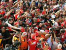 Fernando Alonso signs autographs for the Tifosi at Monza
