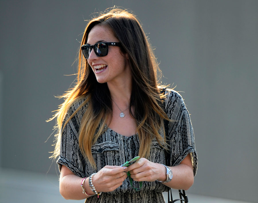 Laura Jordan, the girlfriend of Paul di Resta, arrives at the track