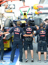 Red Bull mechanics try to block photographers from taking pictures