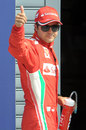 Felipe Massa celebrates his third place in qualifying