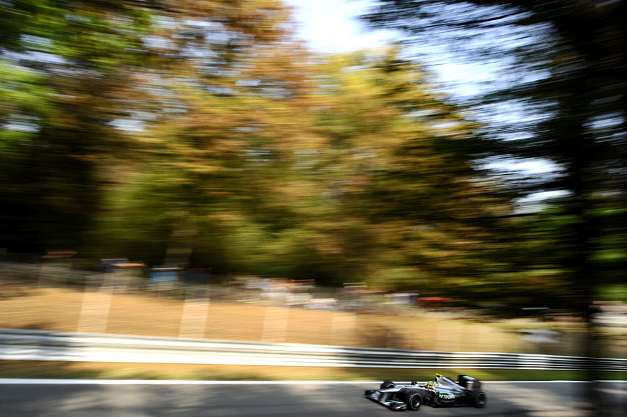 Nico Rosberg blasts down one of Monza's straights