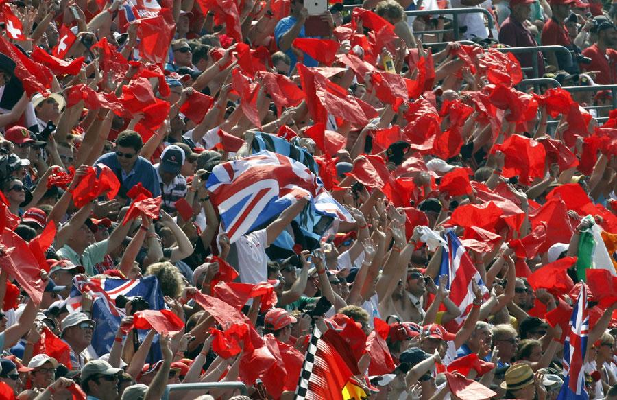 A lone Union flag in a sea of Ferrari supporters