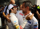 Sergio Perez celebrates second place with Sauber team manager Beat Zehnder