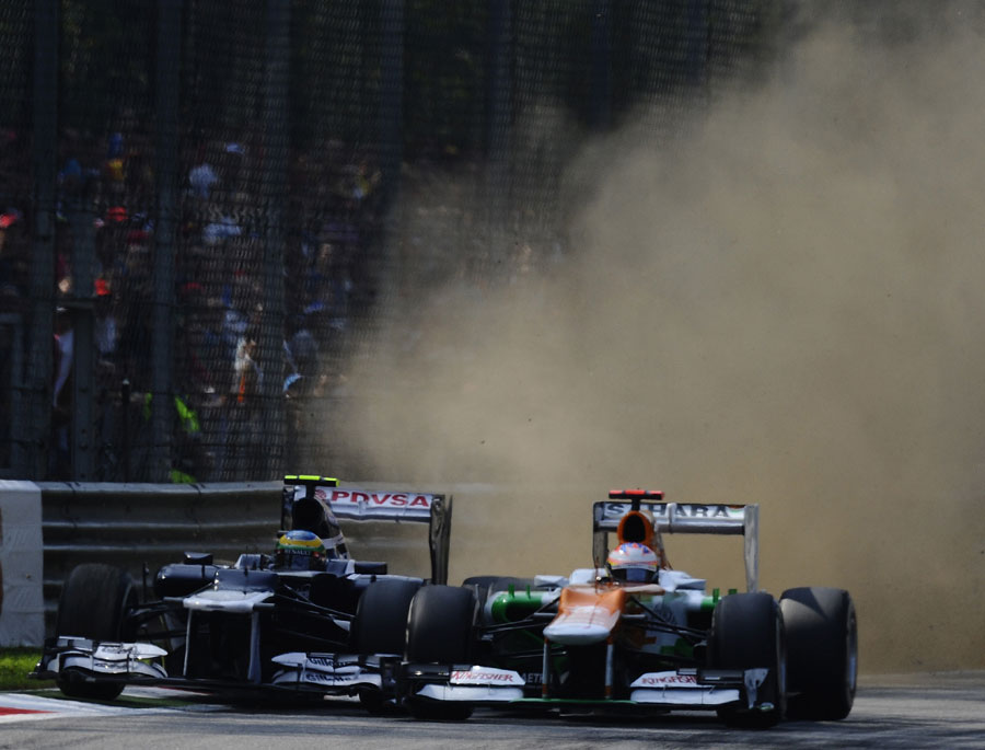 Bruno Senna and Paul di Resta scrap for position