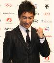 Takuma Sato at a press conference in Tokyo
