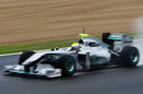Nico Rosberg drives his Mercedes in terrible conditions