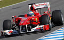 Fernando Alonso putting laps on the Bridgestone slicks