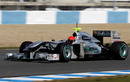 Michael Schumacher putting precious dry mileage on the Mercedes