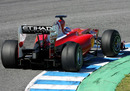 Fernando Alonso's Ferrari showing signs of tyre wear