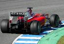 Fernando Alonso's Ferrari showing signs of tyre wear