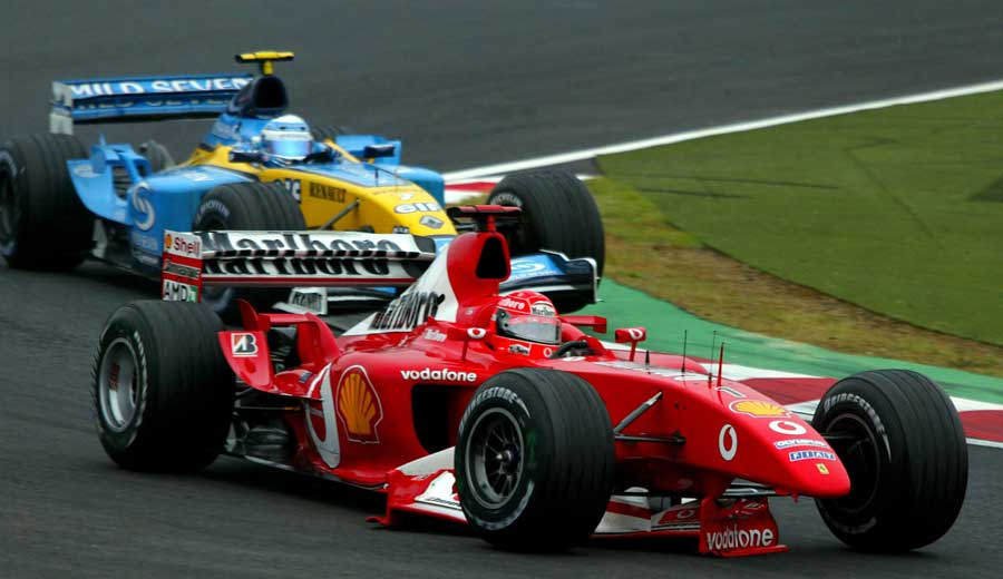 Michael Schumacher loses his front wing