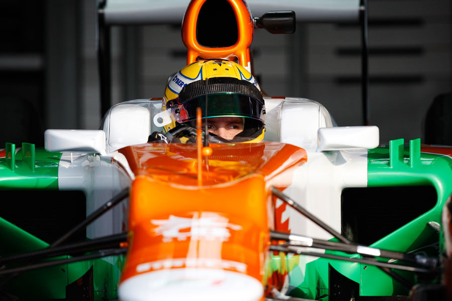 Luiz Razia waits to go out in the Force India