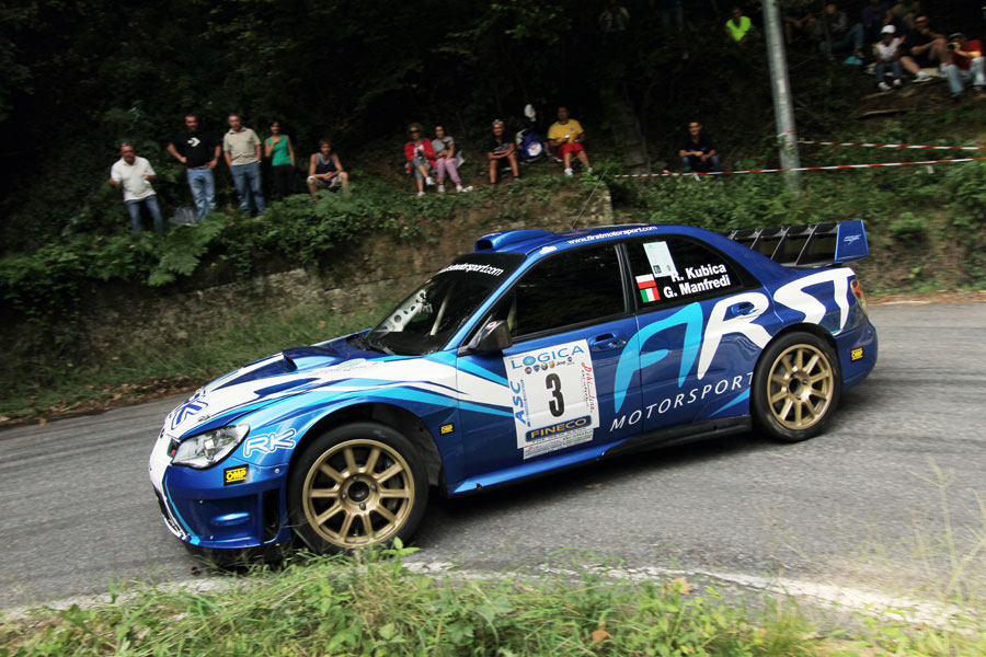 Robert Kubica in action in his WRC Subaru Impreza