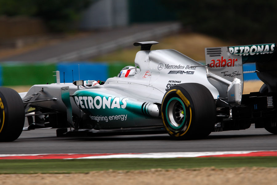 Sam Bird trials a new exhaust layout for Mercedes
