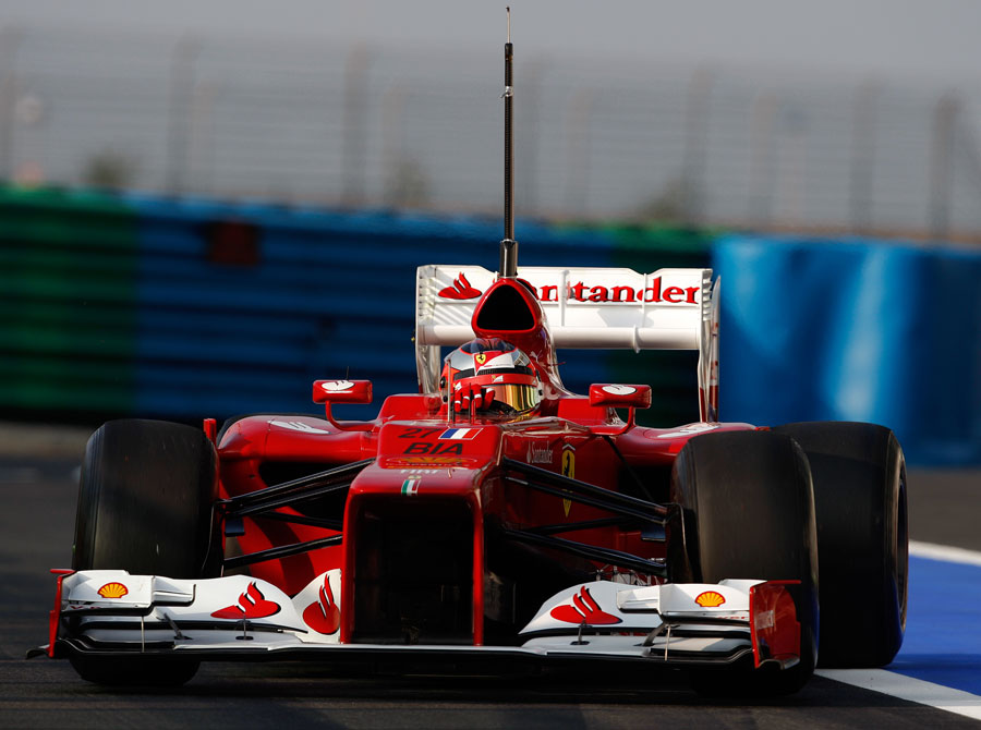 Jules Bianchi leaves the pits in the Ferrari F2012
