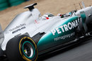 Sam Bird on track with soft tyres in the Mercedes W03