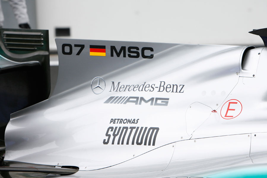A fin on the Mercedes engine cover