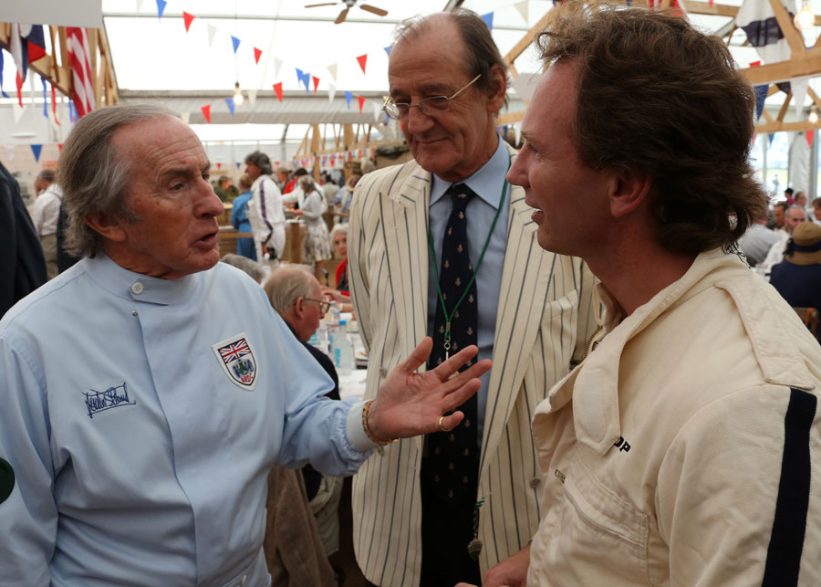 Sir Jackie Stewart and Christian Horner chat at the Goodwood Revival