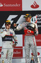 Sergio Perez and Lewis Hamilton on the Monza podium