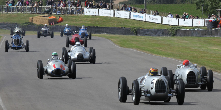 The Silver Arrows parade with the ten cars shown conservatively valued in excess of £100m