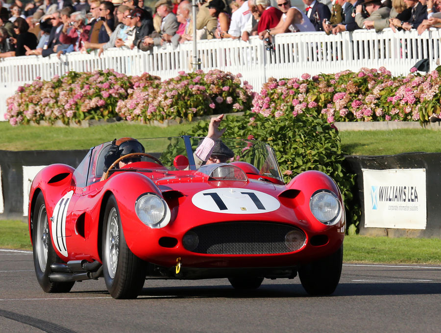 Tony Brooks and Dan Gurney lead a parade in honour of the American F1 driver