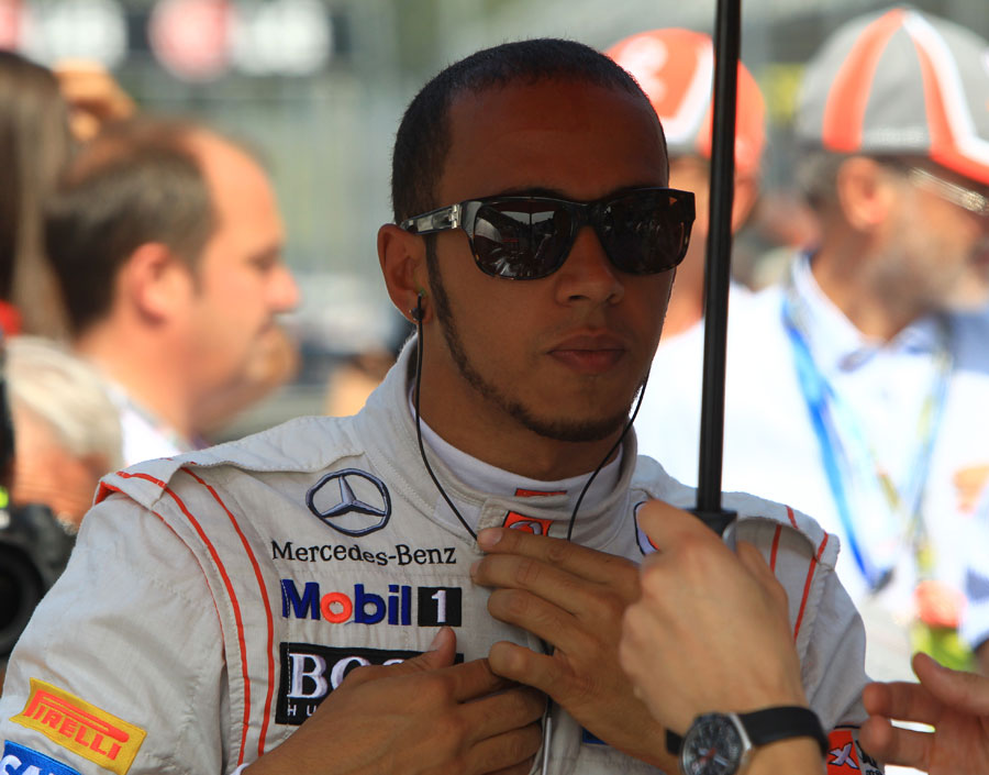 Lewis Hamilton prepares on the grid