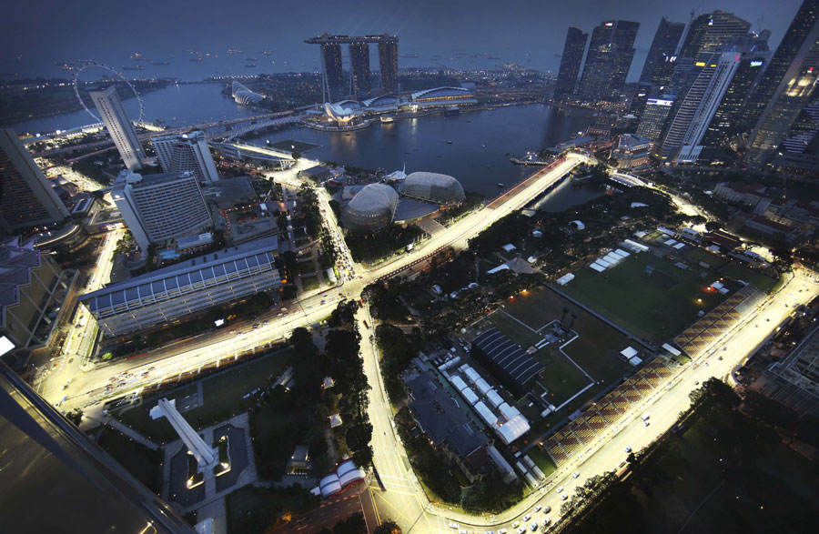 The floodlights are tested in Singapore ahead of the grand prix weekend