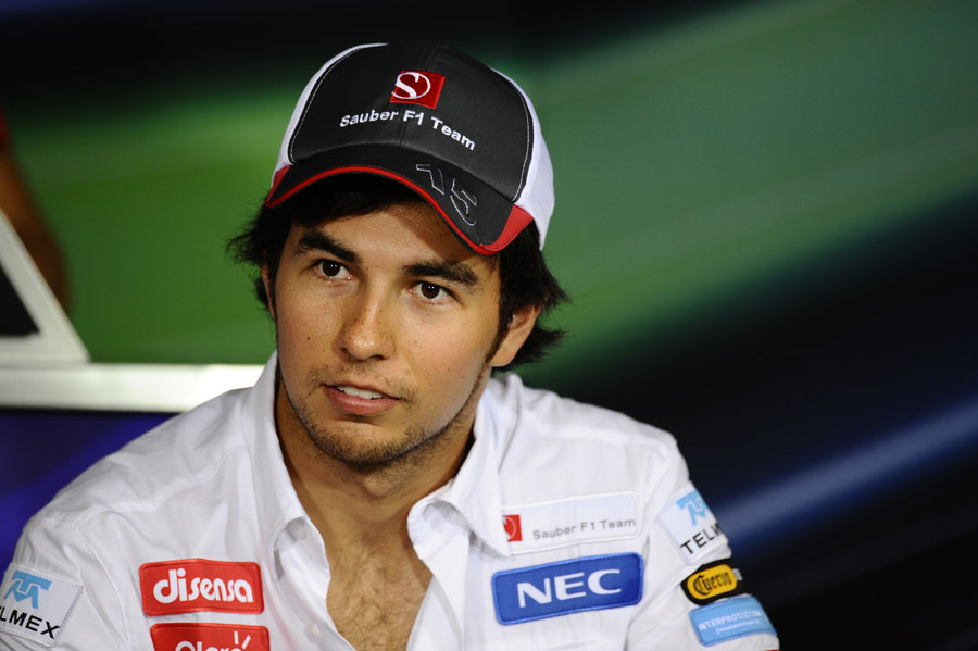 Sergio Perez faces the media in the driver press conference