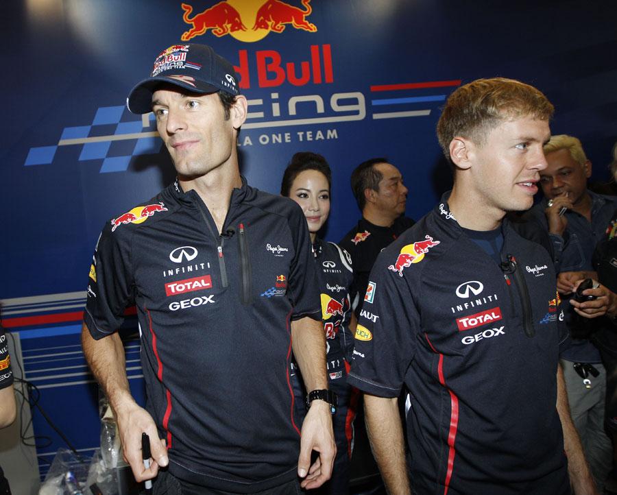 Mark Webber and Sebastian Vettel at a promotional event for Red Bull on Thursday