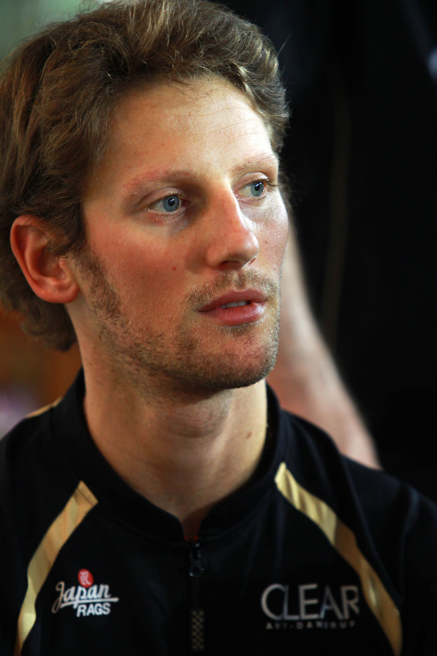 Romain Grosjean deep in thought on Thursday