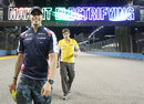 Pastor Maldonado is all smiles as he starts his track walk