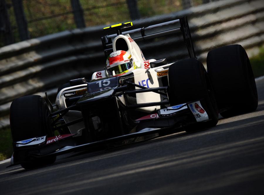 Sergio Perez on track