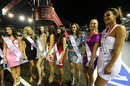 Miss Universe candidates appear pleased with Sebastian Vettel's performance so far this weekend