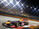 Sebastian Vettel clips the apex in his Red Bull