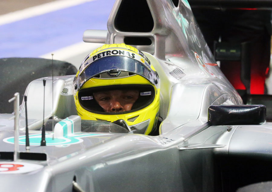 Nico Rosberg in the cockpit of the Mercedes