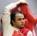 Felipe Massa relaxes in the Ferrari garage