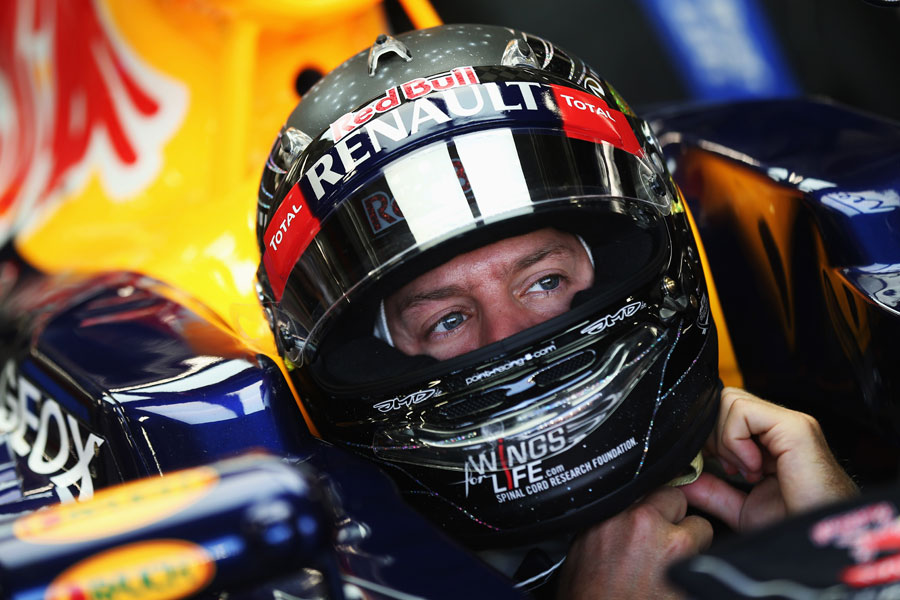 Sebastian Vettel in the cockpit of his Red Bull