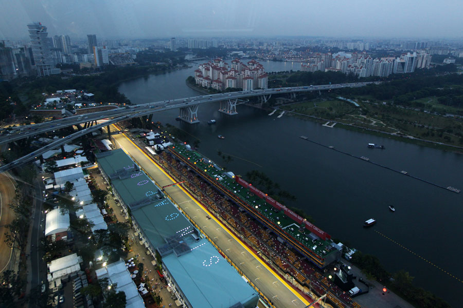 The view over the circuit at dusk