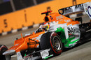 Paul di Resta pushes hard on the supersoft tyres