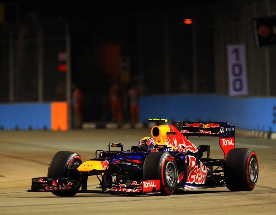 Mark Webber on a qualifying run