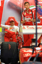 Felipe Massa and his race engineer Rob Smedley look concerned in the Ferrari garage