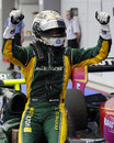 Giedo van der Garde celebrates winning the GP2 sprint race in Singapore