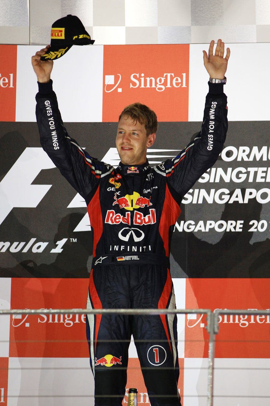 Sebastian Vettel celebrates victory in Singapore